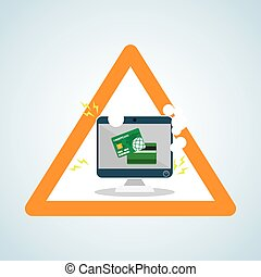 Security system design warning icon protection concept -...