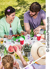 Talking during barbecue - Woman and man are talking during...