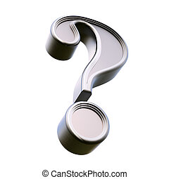 Metal question mark. Isolated on white background. 3d rendering.