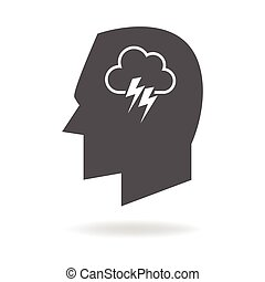 Brain Storming - Human mind concept graphic, cloud with...