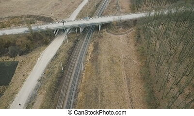 Aerial view: bridge and road in the field full HD