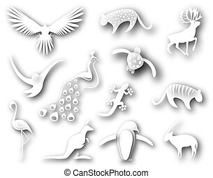 Animal designs - Collection of cutout designs of animal...