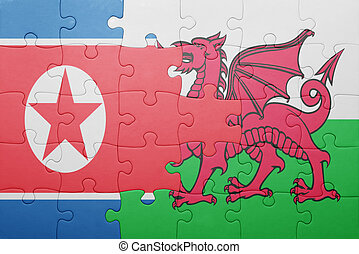 puzzle with the national flag of wales and north korea...