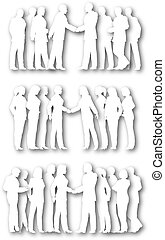 Cutout business groups - Three silhouettes of white cutout...