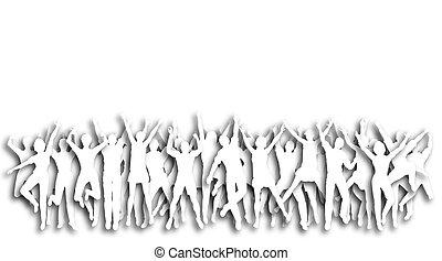 Cutout celebration - Illustration of cutout people jumping...