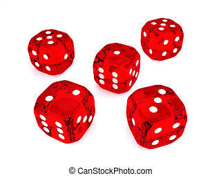 five 3d dices over white background