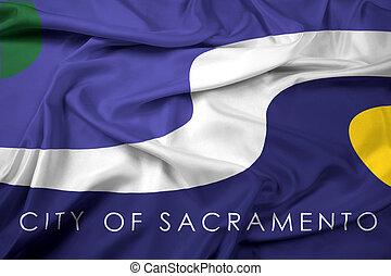 Waving Flag of Sacramento, California