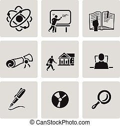 Education icon set. Black sign on gray background