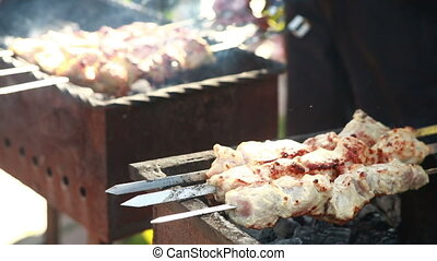 Juicy slices of meat with sauce prepare on fire. kebab. -...