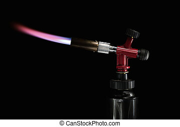 flame gas burner - instrument gas burner flame burns blue...