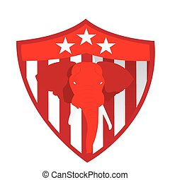 Republican - Isolated heraldry shield with stars, stripes...