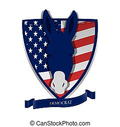 Democrat - Isolated heraldry shield with the american flag,...