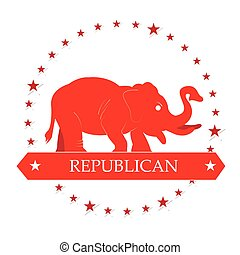Republican - Isolated republican symbol with some stars on a...