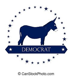 Democrat - Isolated democrat symbol with some stars on a...