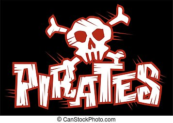 pirates - distressed pirates logo flag design for school,...
