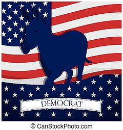 Democrat - Colored background with the american flag, a...