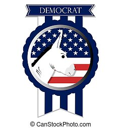 Democrat - Isolated banner with the american flag, text and...