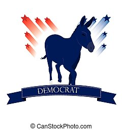 Democrat - Isolated democrat symbol with a ribbon with text...