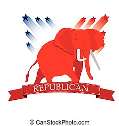 Republican - Isolated republican symbol with a ribbon with...