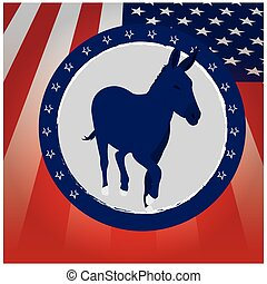 Democrat - Colored background with the american flag and an...