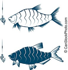 hook with worm and bream vector design template