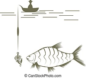 fisherman on boat and bream vector design template