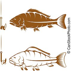 hook with beans and carp vector design template
