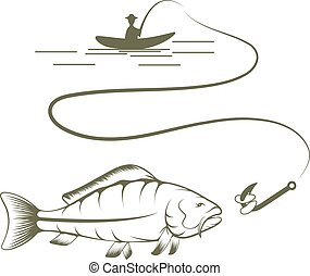 fisherman on boat and carp vector design template