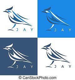 abstract steller's jay set vector design template