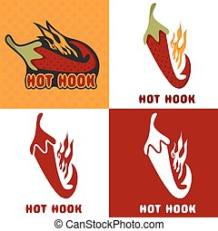hot hook vector design concept with chili pepper and flame