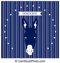 Democrat - Textured background with text, stars and the...