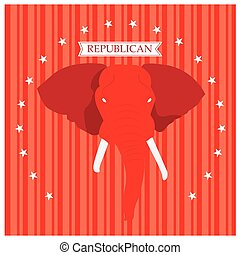 Republican - Textured background with text, stars and the...