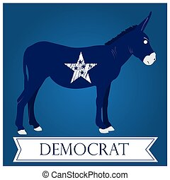 Democrat - Isolated democrat symbol with a star and a ribbon...