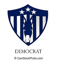Democrat - Isolated heraldry shield with stars, stripes and...