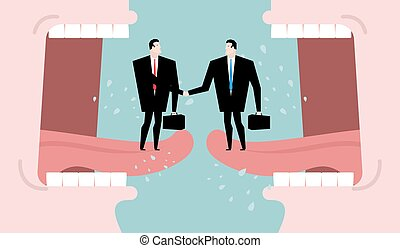 Negotiations and dialogue. Transaction business. ?ompromise between two business parties. Agreement on background of abuse. Two men shaking hands. Open mouth cry. communication people