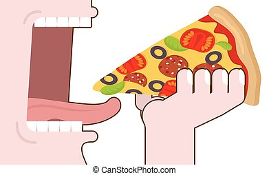 Man eating pizza. Pizza hand. Wide open mouth with teeth and tongue. Eating. food consumption