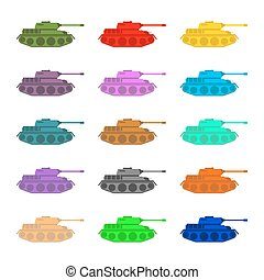 Set multicolored Tanks. Military equipment on white...