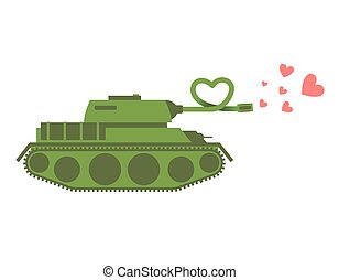 Army Tank love. Green shoots military machine hearts. Love...
