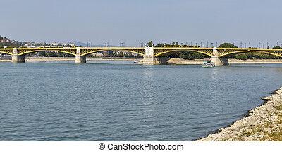 Margaret Bridge across the Danube river in Budapest, Hungary...