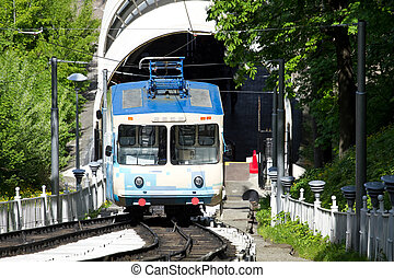 Funicular in Kiev - Funicular railway up the mountain in...