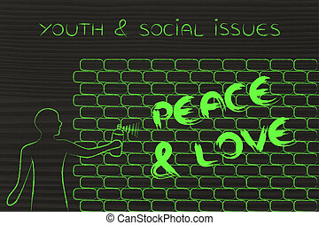 man writing Peace and Love as wall graffiti, youth and...