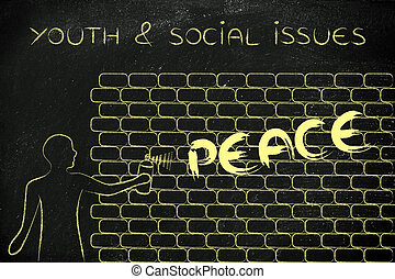 man writing Peace as wall graffiti, youth and social issues...