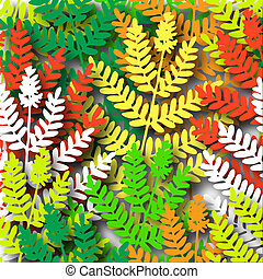 Ferns - Illustrated design of fern leaves with shadows