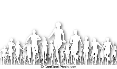 Fleeing - Illustrated cutout silhouettes of many people...