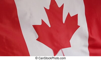 Closeup of Canadian national flag - Closeup of the national...