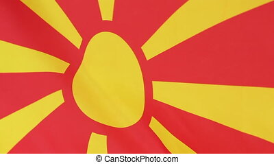 Flag of Macedonia - Fabric flag of Macedonia moving in the...
