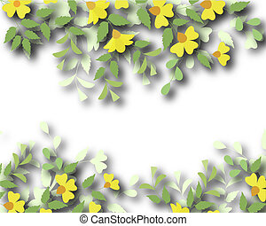 Floral border - Design illustration of a flowering plant...