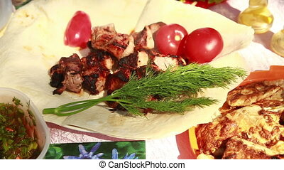Donner Kebab - donner meat in a pitta bread served with...