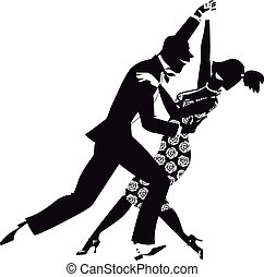 Retro dance clip-art - Black vector silhouette of a couple,...