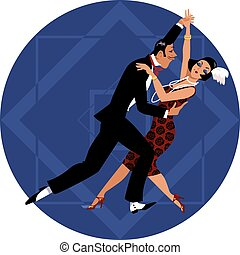 Retro couple dancing - Couple dressed in 1920s fashion...